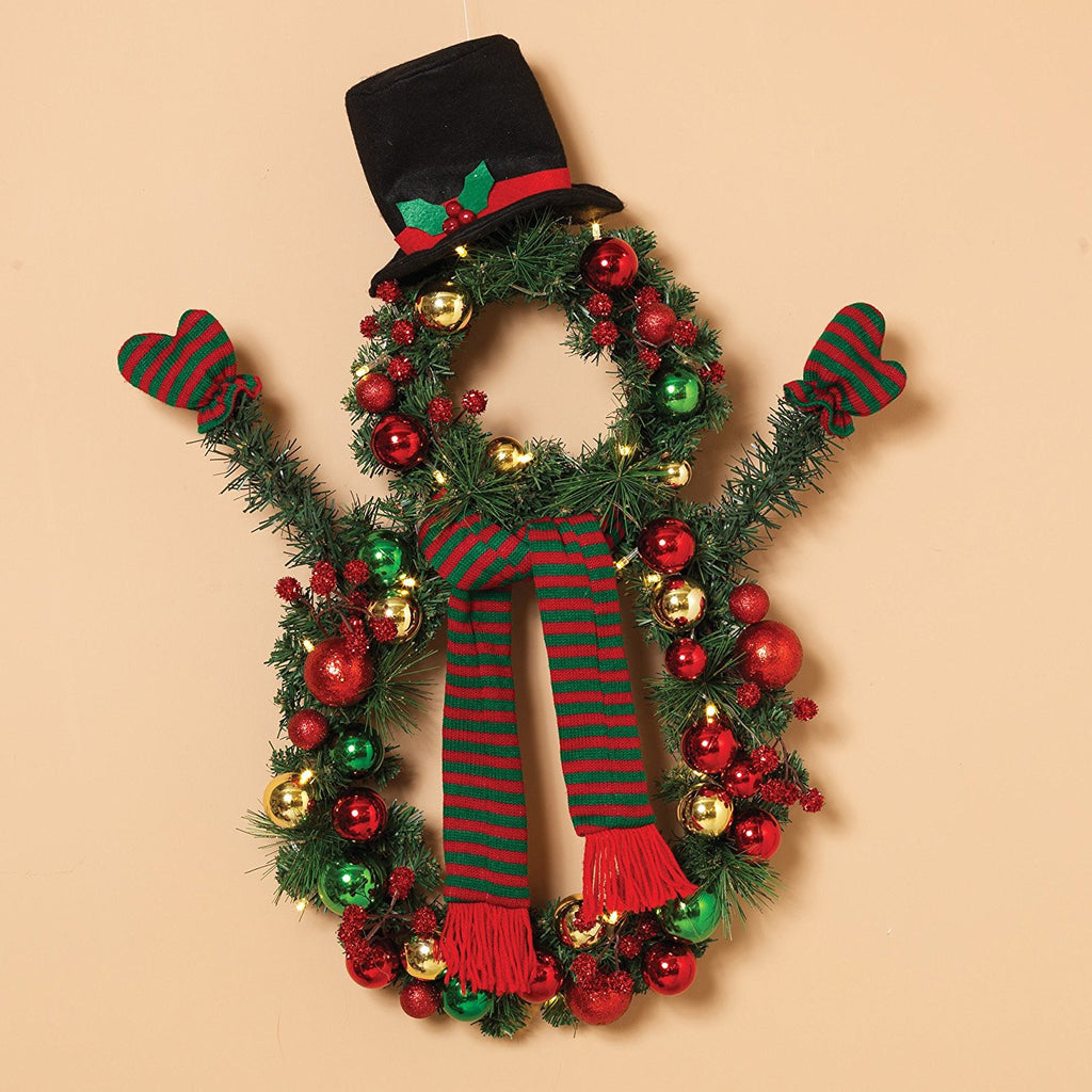 24 Inch Battery Operated Christmas Snowman Wreath With Ornaments, Top Hat and Scarf and Clear Lights