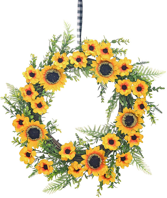 18 Inch Sunflower Wreath on Twisted Twig Base with Plaid Hanging Ribbon, Artificial Sunflowers and Greenery