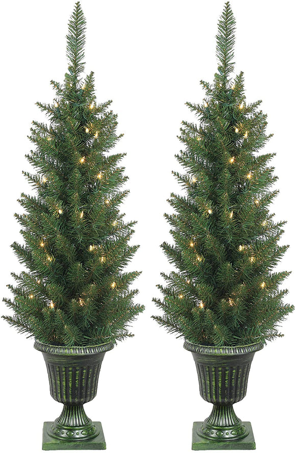 Set of 2 Lighted Pre-Potted 3.5 Foot Artificial Norway Pine Topiary Outdoor Indoor Trees - Set of 2 - Battery Operated with Timers