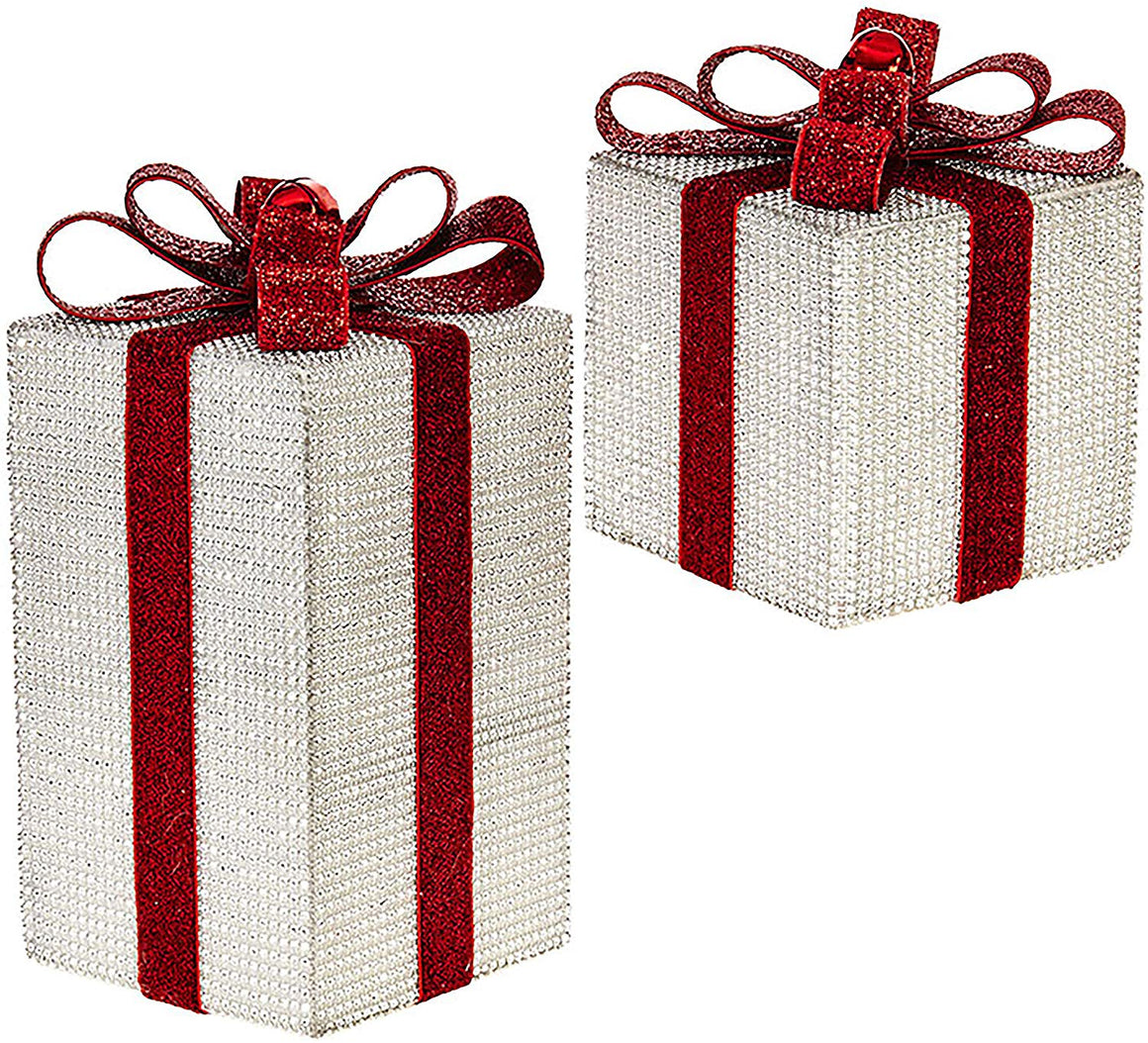 Jeweled Gift Boxes Set of 2 in Silver Rhinestones and Red Bows 10 Inches and 6.5 Inches