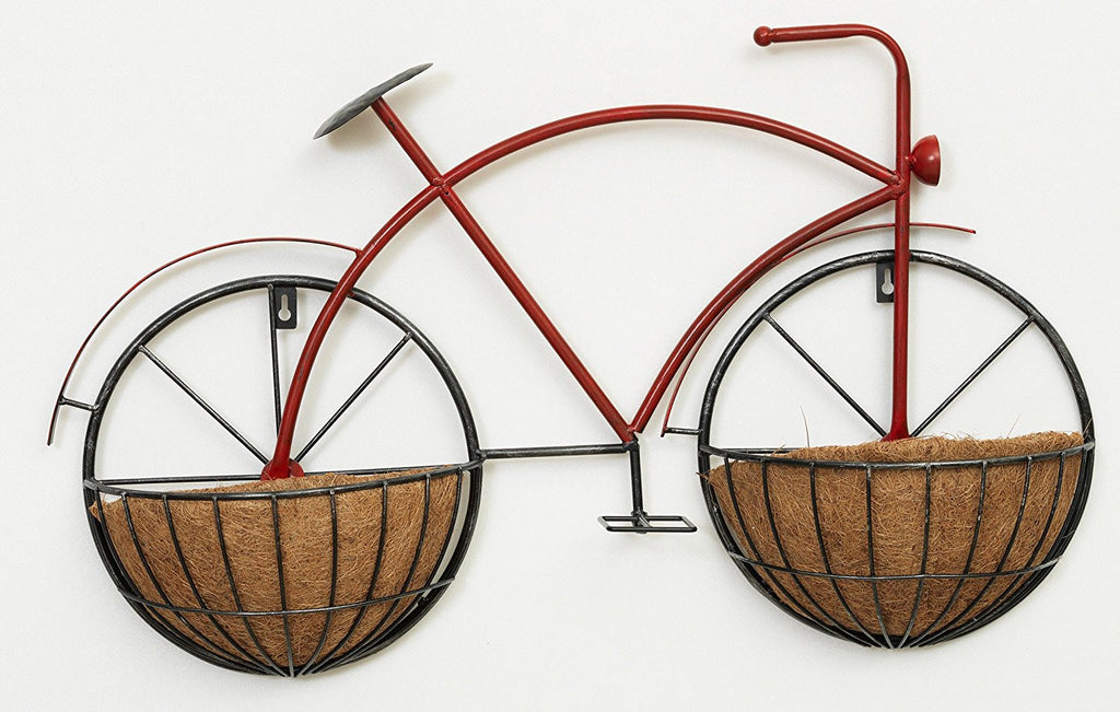 28 Inch Metal Bicycle Hanging Wall Planter Stand - Indoor / Outdoor Use