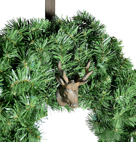TenWaterloo 16 Inch Bronzed Metal Christmas Reindeer Wreath Hanger- Cast Iron
