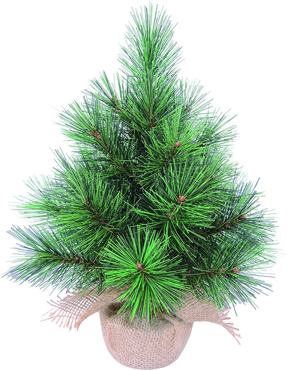 12 Inch High x 5.5 Inch Wide Artificial Tabletop Christmas Pine Tree with Burlap Base