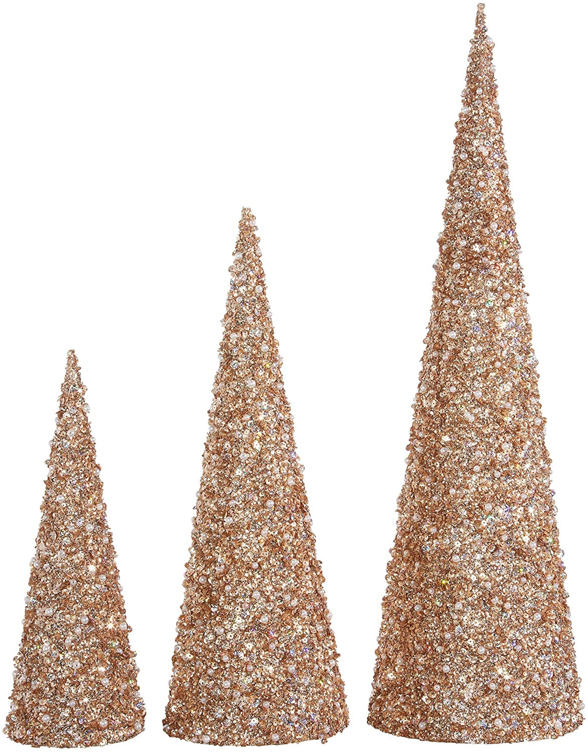22 Inch, 17 Inch and 12 Inch High Jeweled Glittered Cone Christmas Trees Set of 3 - Champagne Gold