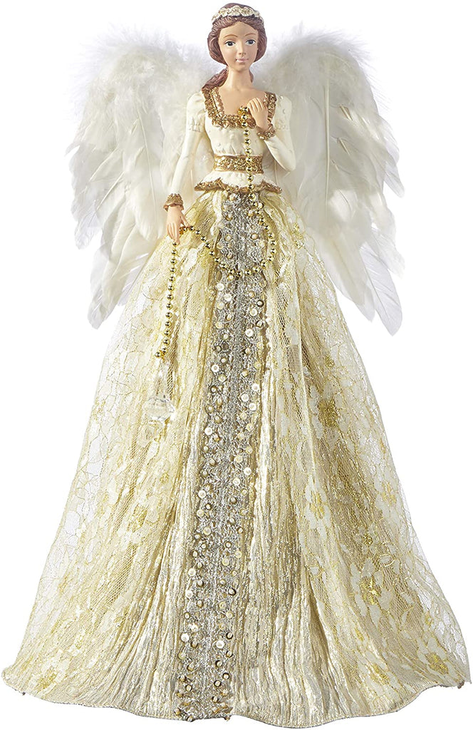 TenWaterloo 16 Inch Jeweled and Beaded Gold Angel Christmas Tree Topper