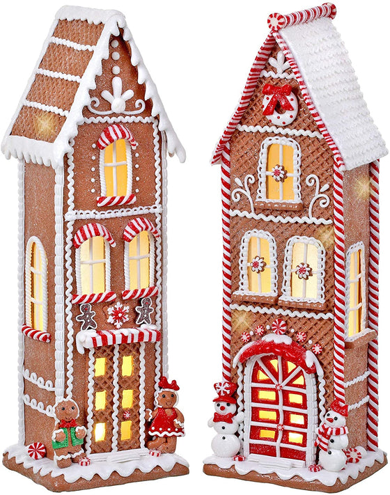TenWaterloo Set of 2 Large Lighted Gingerbread Peppermint Candy House with Timers in Clay Dough Resin with Frosted Snow Look, Battery Operated, 17 Inches High Each