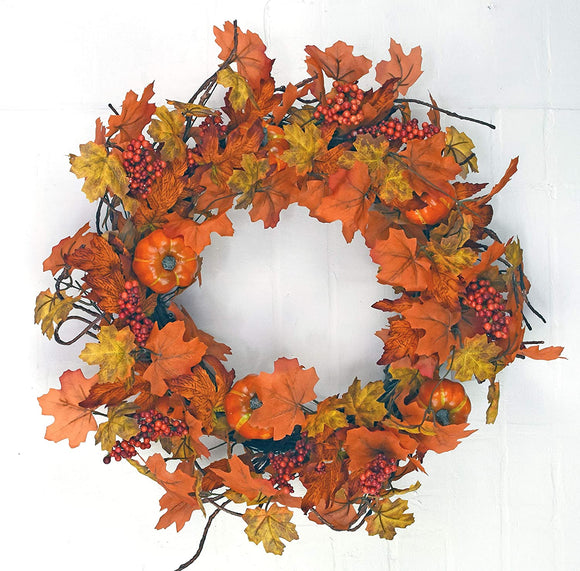 DE 22 Inch Pumpkin and Fall Leaves Grapevine Wreath with Berries, Artificial Pumpkins and Leaves