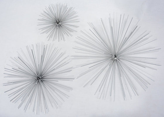 Ten Waterloo Metal Wall Sculptures Set Of 3 Silver Finish Star Burst Metal Wall Hangings - 12, 9 and 6 Inches Silver
