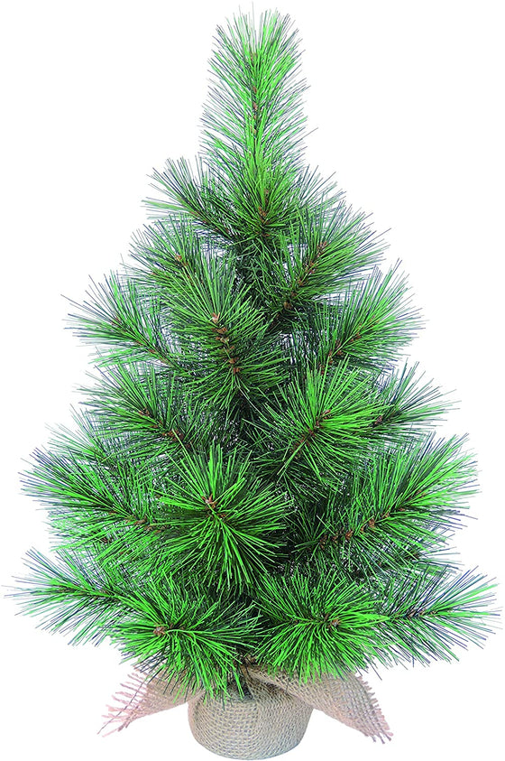 17 Inch High x 7 Inch Wide Artificial Tabletop Christmas Pine Tree with Burlap Base