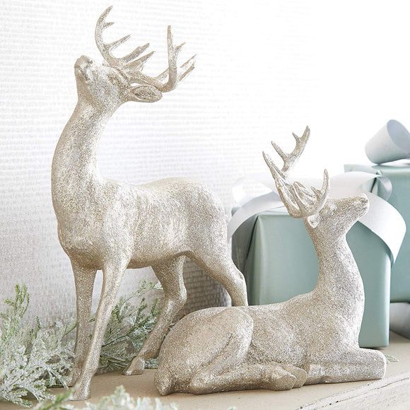 Raz Silver Glitter Christmas Deer Set - 9 Inches and 13.75 Inches High - Holiday Decor Reindeer