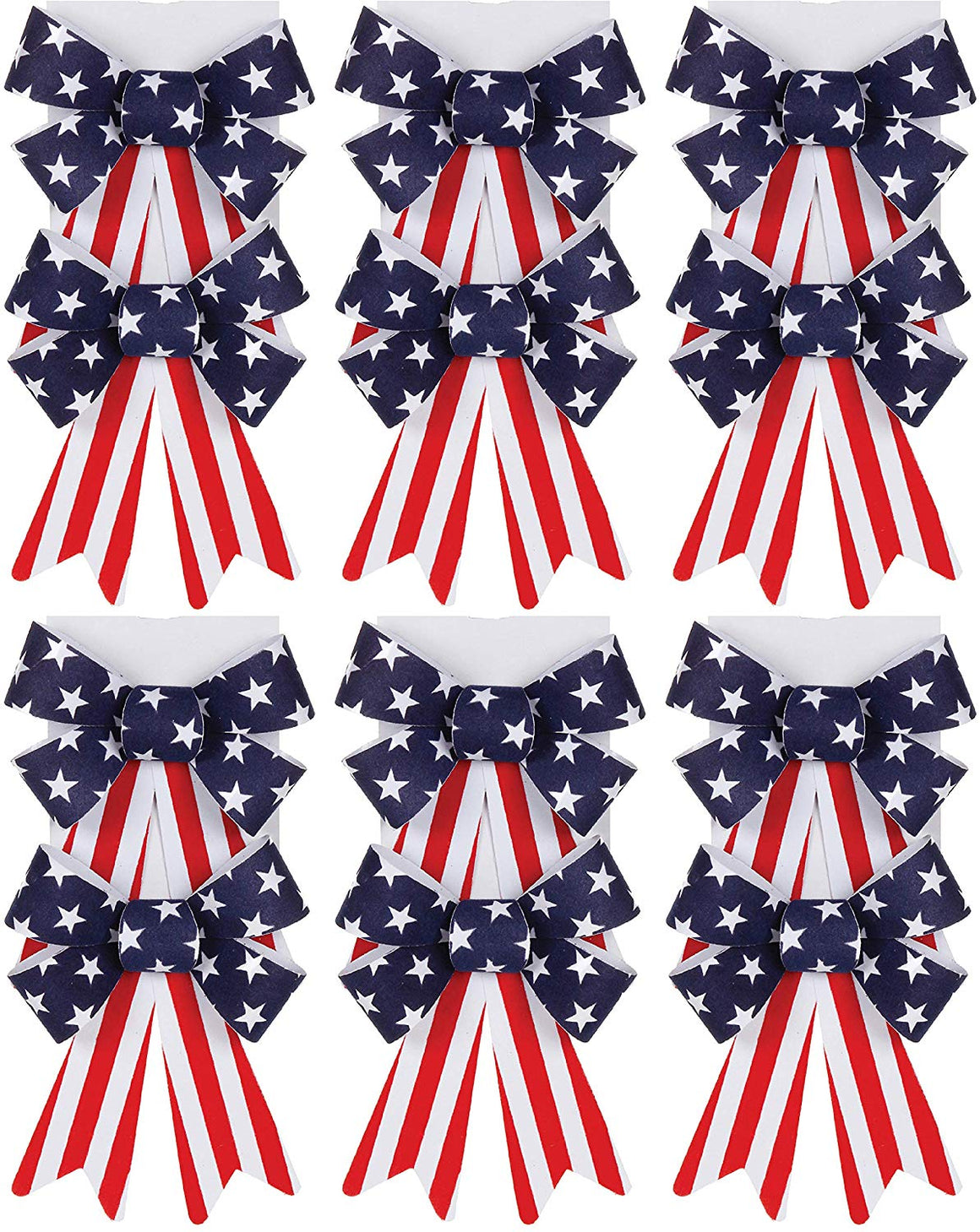 Dar Set of 12 American Flag Patriotic Bows 5.5 inches Wide x 6 Inches Long- Red, White and Blue Velvet Feel in Indoor/Outdoor Plastic