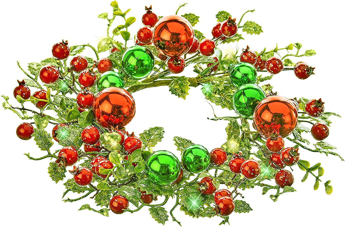 TenWaterloo 12 Inch Glittered Holly and Berry Artificial Christmas Candle Ring with Red and Green Ball Ornament Accents