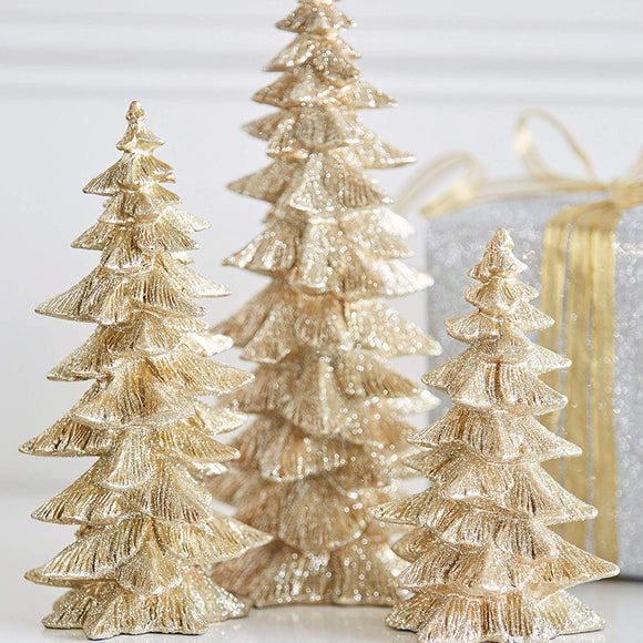 Set of 3 Champagne Gold Glittered Christmas Trees- 6.5 inches to 9.5 inches Tall