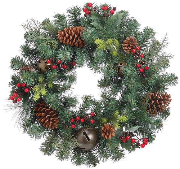 TenWaterloo 20 Inch Mixed Pine Christmas Wreath with Bells and Berries- Artificial Pine and Red Berries
