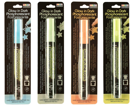 Set of 4 Glow In The Dark DecoFabric Marker By Marvy Uchida - 4 Fabric Markers