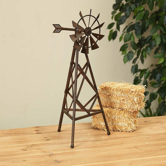 Gerson 14.5 Inch High Metal Windmill Decorative Accessory in Antique Rust Finish, Farmhouse Inspired Metal Decor
