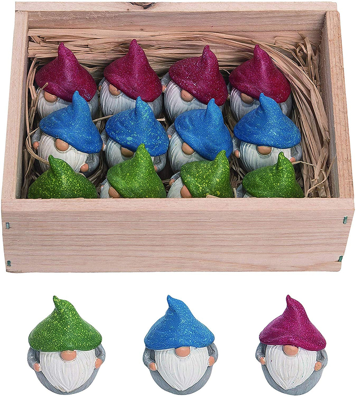 Set of 12 Resin Mini Gnomes, 1.75 inches High, Swedish Tomte Gnome Set for Garden and Decor in Red, Green and Blue