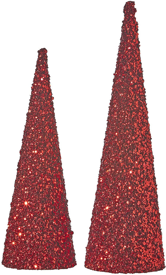 Set of 2 Red Glittered Christmas Cone Trees 16 Inches and 20 Inches High