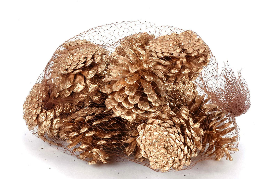 TenWaterloo Glittered Gold Pine Cones 12 Piece Bag, Bowl Filler and Holiday Decoration