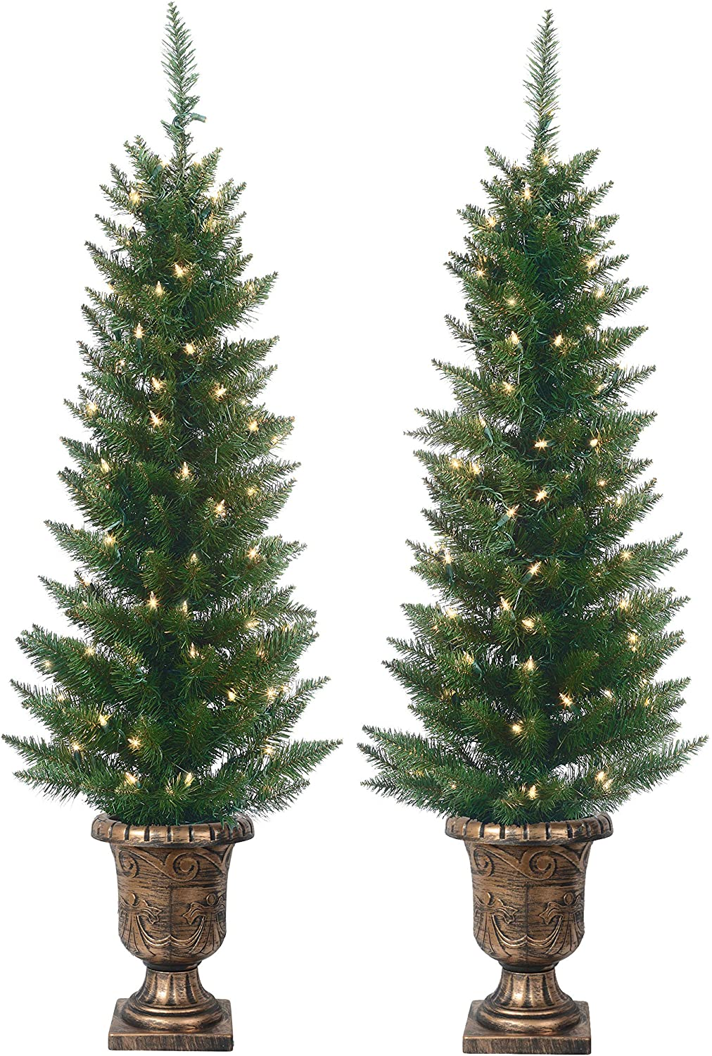 Set of 2 Lighted Pre-Potted 4 Foot Artificial Cedar Topiary Outdoor Indoor Trees - Set of 2 - Battery Operated with Timers