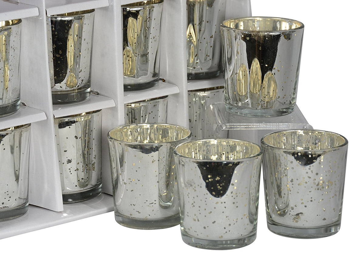 Set of 12 Glass Votive Candle Holders in Silver Mercury Glass Look Finish