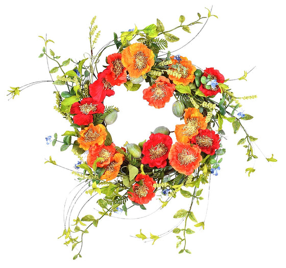 Ten Waterloo 22 Inch Orange and Red Artificial Poppy Wreath on Natural Twig Base