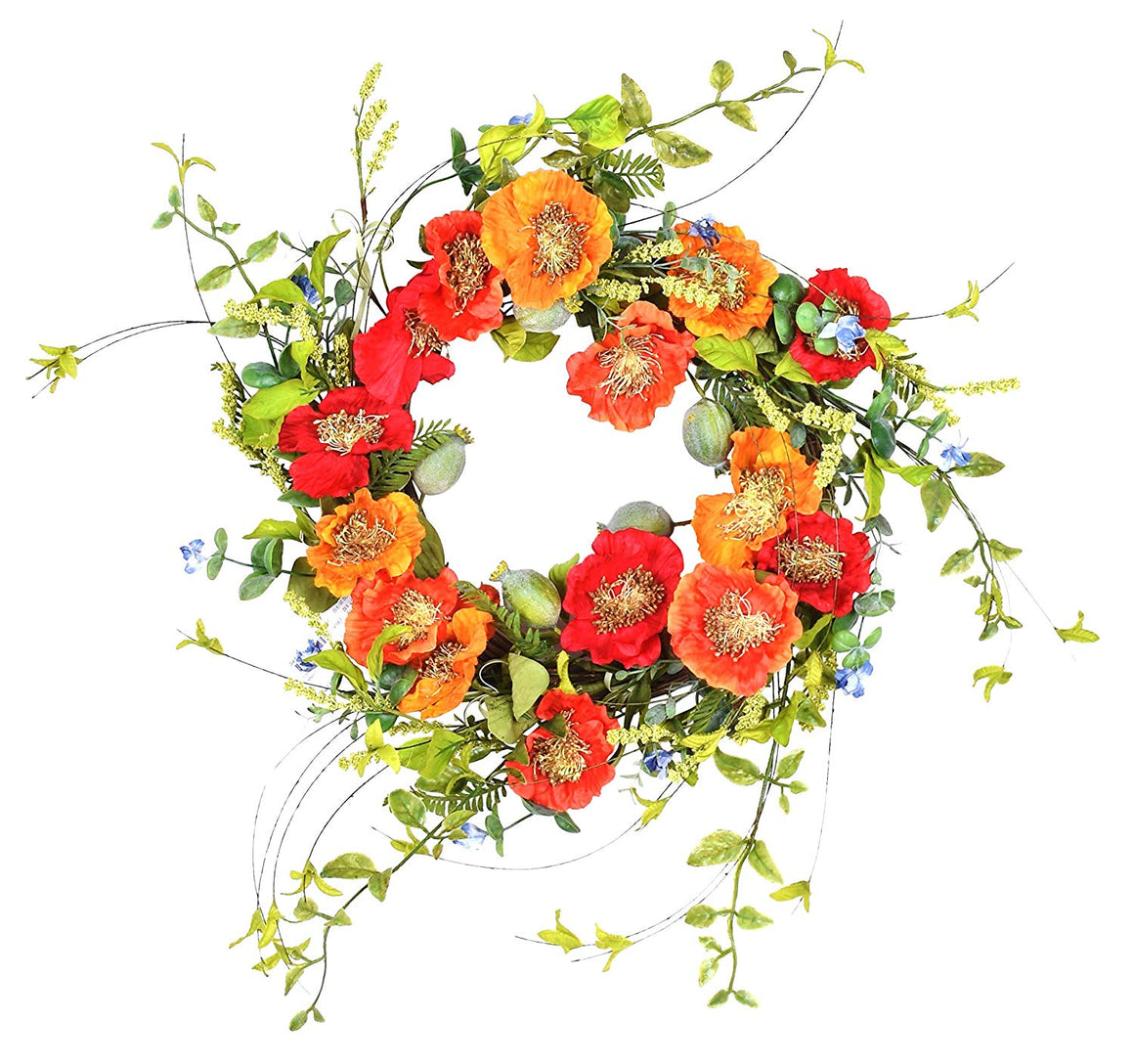 TenWaterloo 22 Inch Orange and Red Artificial Poppy Wreath on Natural Twig Base