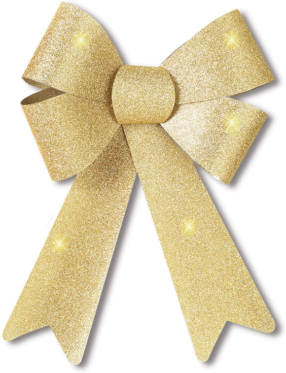 Outdoor Christmas Wreath Bow - 14 Inches High Gold Glitter Bow Seasonal Décor - Indoor/Outdoor Use, Weatherproof for Wreaths, Windows, Garlands, Mailboxes