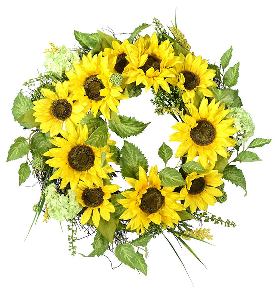 22 Inch Sunflower Wreath With Hydrangea, Fern and Spring Flowers on a Natural Twig Base, Artificial Floral and Leaves