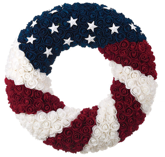 Patriotic Wreath 21 Inch Diameter, Roses and Stars, Red White and Blue 4th Of July Decorating