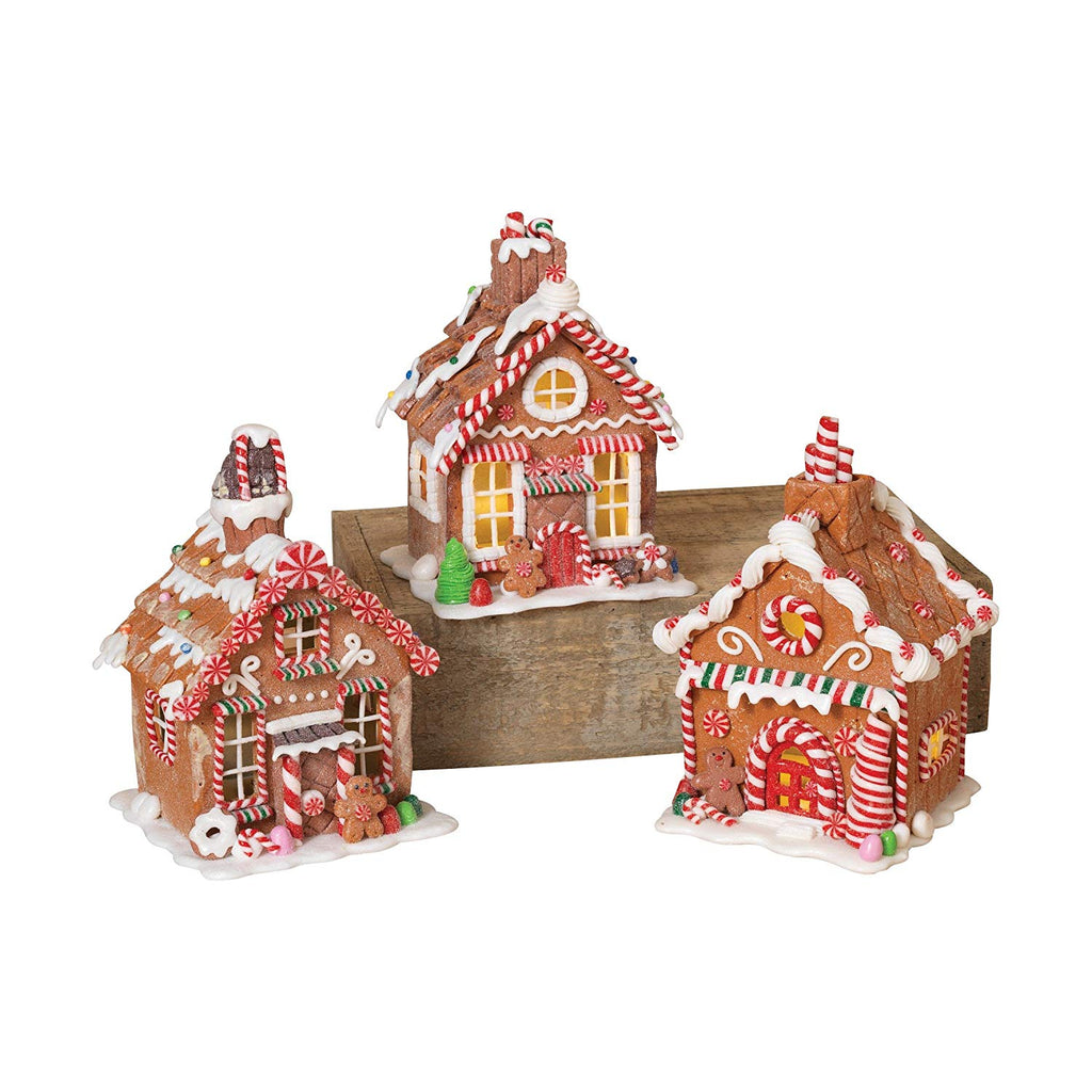7 Inches High Lighted Battery Operated Clay Dough Christmas Gingerbread Houses, 3 Assorted
