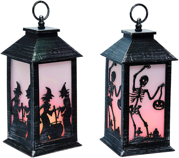 Set of 2 Halloween Light Up Candle Lanterns with Timers, Battery Operated with a Flickering Flame Effect