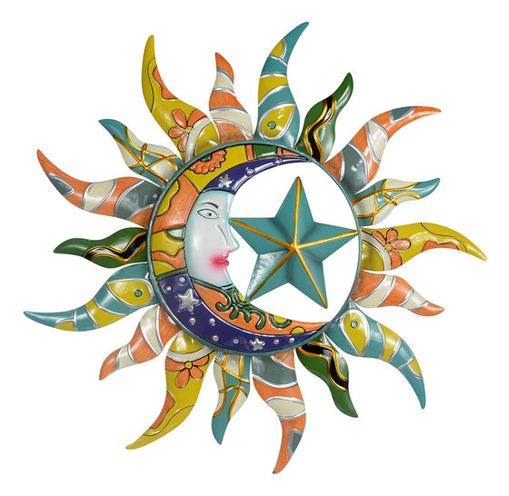 Sun Moon & Stars Metal Wall Hanging Garden Art