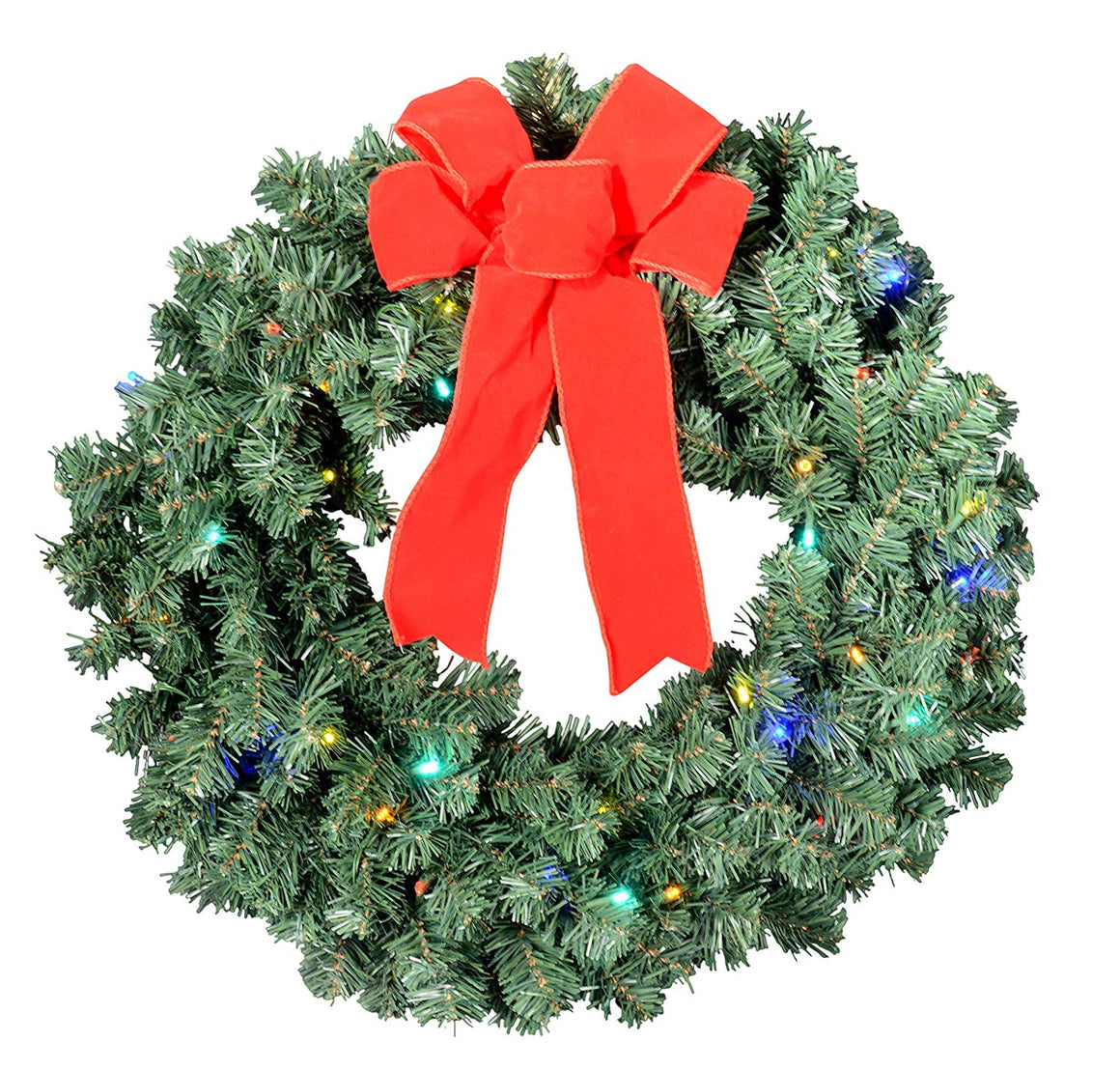 GER 24 Inch Balsam Pine Christmas Wreath with 180 Tips and 36 Multi Colored LED Lights - Battery Operated with Timer