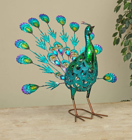 20 Inch Metal Jeweled Peacock Outdoor Statue Garden Décor, Metal Yard Art for Lawn Backyard Party Wedding Decoration