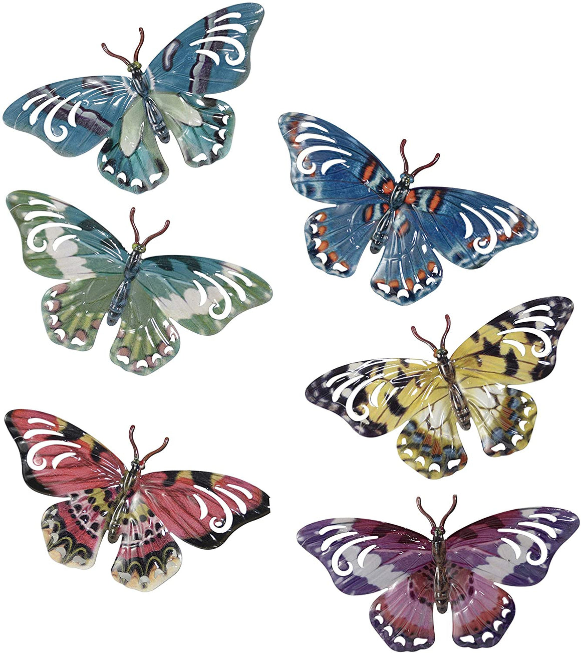 Set of 6 Metal Butterflies Hanging Wall Art, 7 Inches, 6 Designs in Colorful Enamel