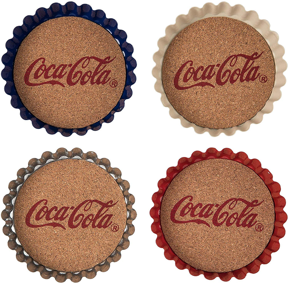 Set of 4 Coca Cola Metal Drink Coasters with Natural Cork in Red, White, Blue and Silver Metal