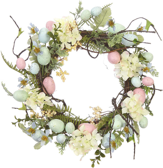 "18"" Spring Easter Egg Wreath, Artificial Floral with Hand Tied Twig Base, Green, Pink and Cream"