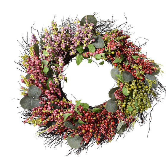 Ten Waterloo 24 Inch Pink, Purple, Green and Mauve Berry and Eucalyptus Wreath on Natural Twig Base, Artificial Floral