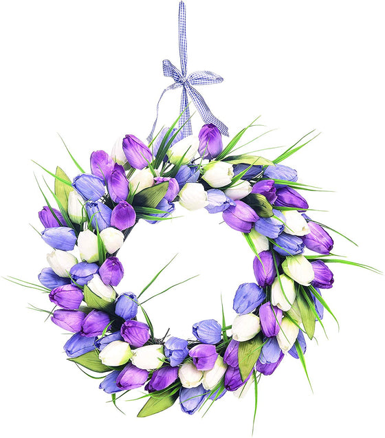 17 inch Lavender, Purple and Cream Tulip Wreath on Natural Grapevine Base with Check Hanging Ribbon, Artificial Floral Front Door Wreath, Spring and Summer Wreath