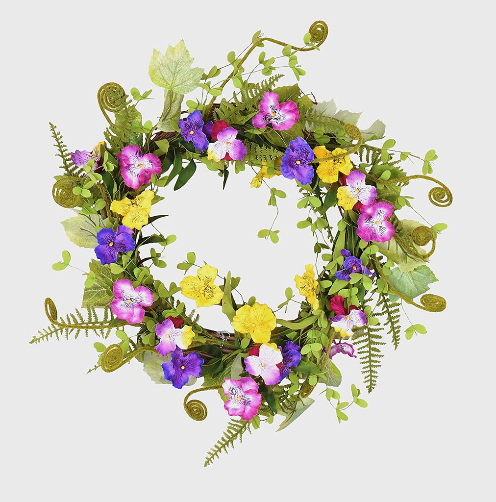 20 Inch Purple and Yellow Artificial Pansy Spring Wreath on Natural Twig Base with Ferns and Moss Curls