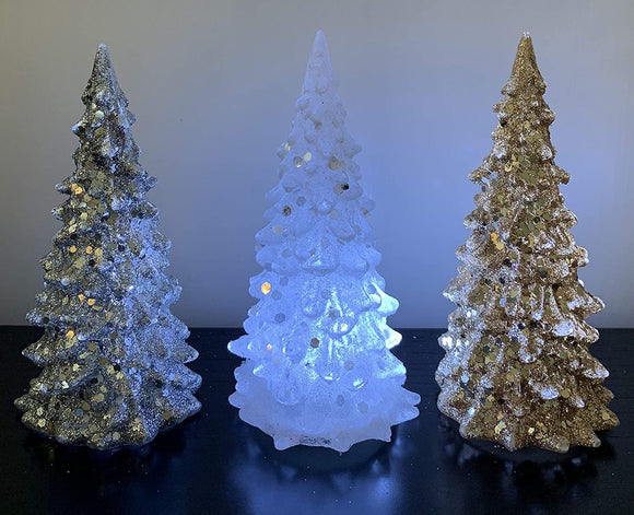 Transpac Acrylic Glittered LED Lighted Christmas Tree Tabletop Decoration - Silver, White & Gold