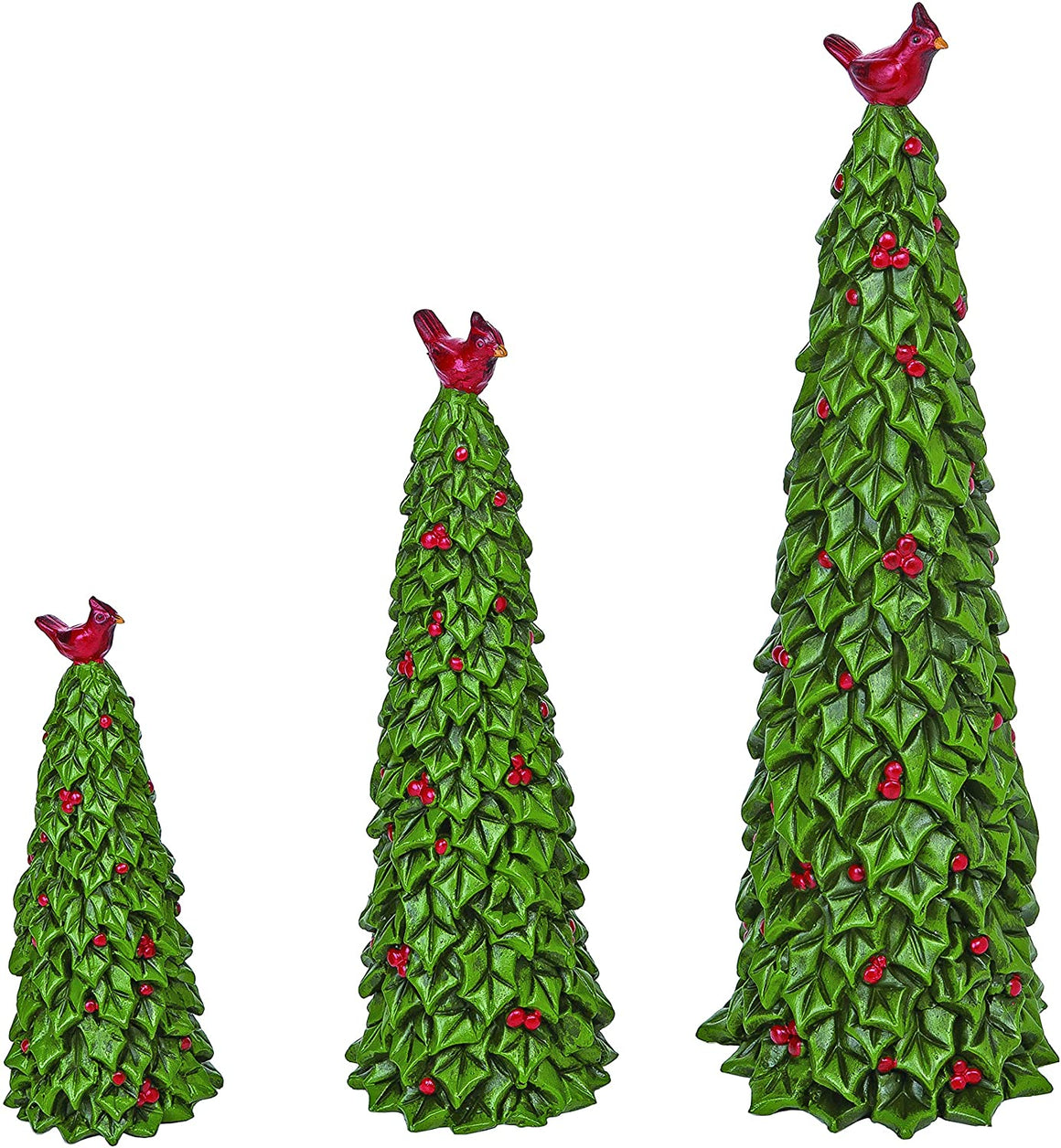 Set of 3 Sculpted Resin Holly Christmas Trees with Red Cardinals and Berries, 6, 9 and 12 Inches High