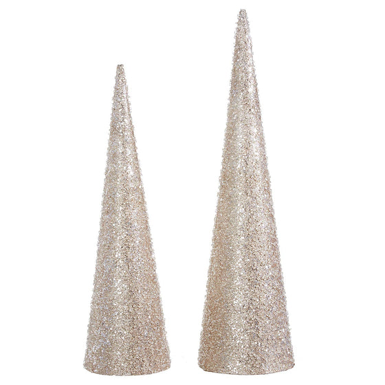 Raz 20 Inch and 24 Inch High Iced and Glittered Champagne Gold Christmas Cone Trees Set of 2