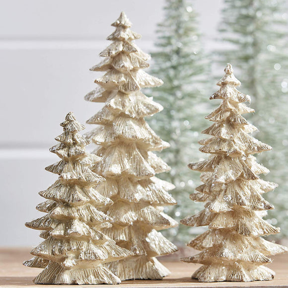 Set of 3 Antique White Glittered Christmas Trees- 6.25 inches to 9.5 inches Tall