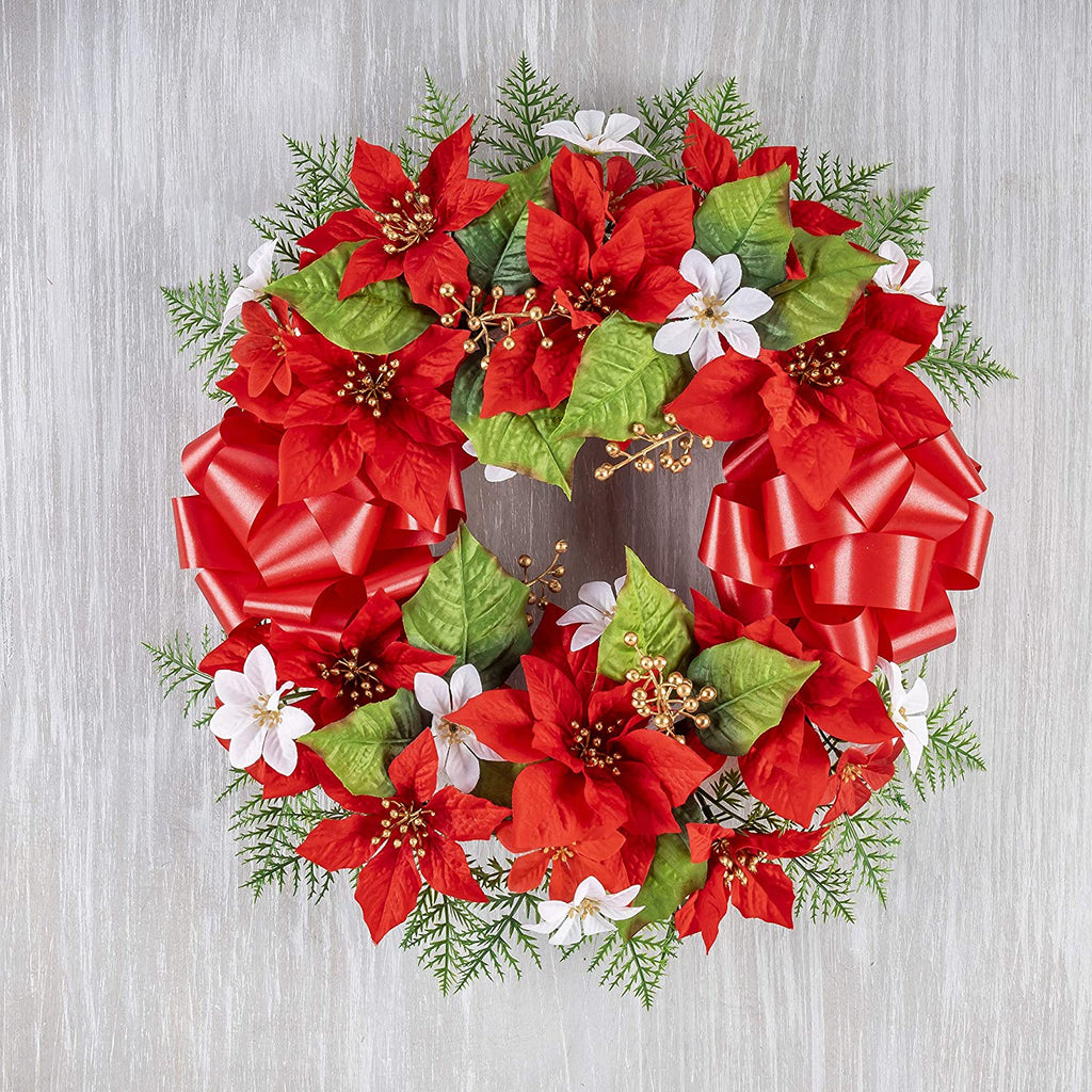 TenWaterloo 16 Inch Memorial Red Christmas Poinsettia Wreath with Metal Stakes and Red Bow, Artificial Floral- Red, Green and White with Gold Accents
