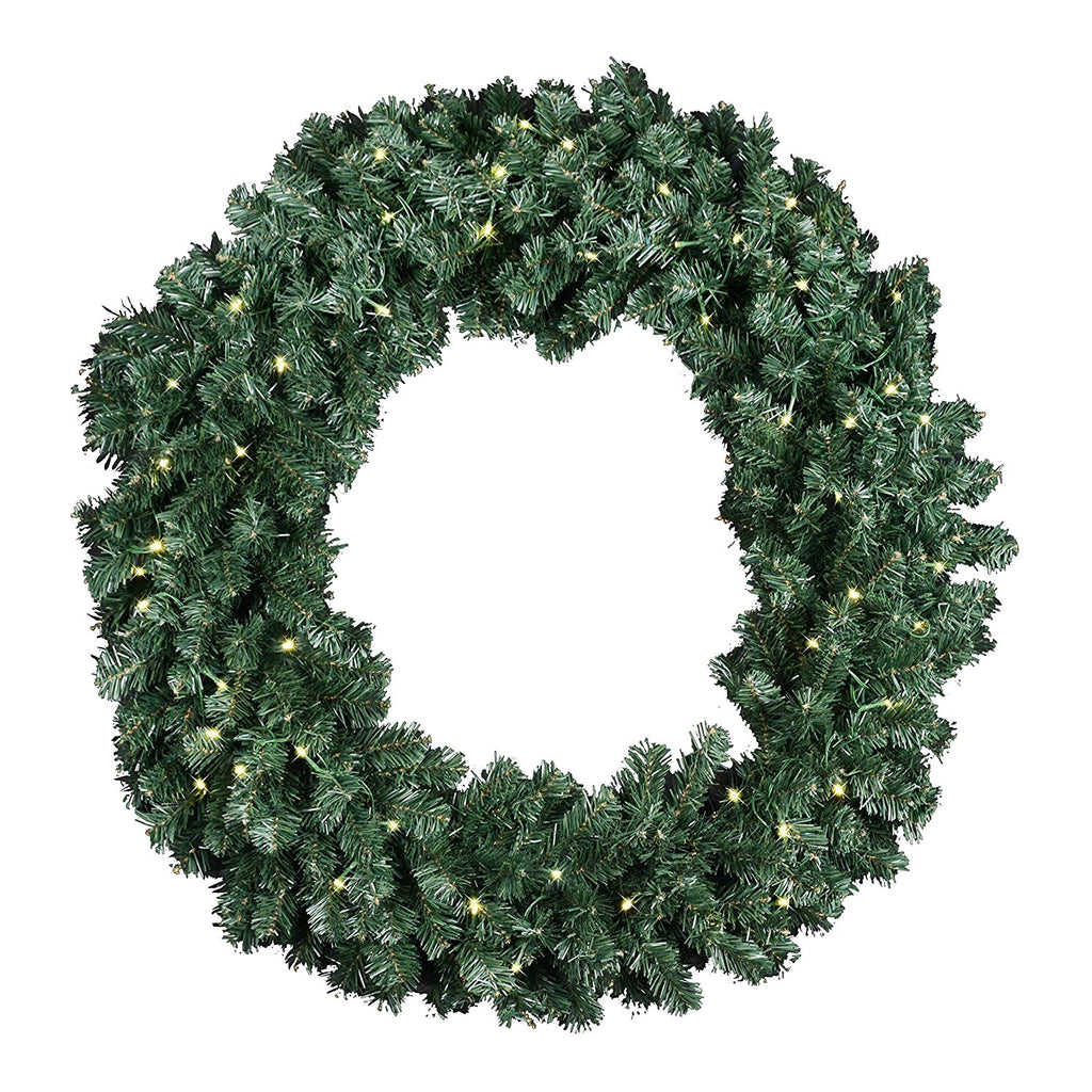 Extra Large 36 Inch Diameter Balsam Pine Christmas Wreath With 360 Tips and 60 LED Lights - Battery Operated With Timer