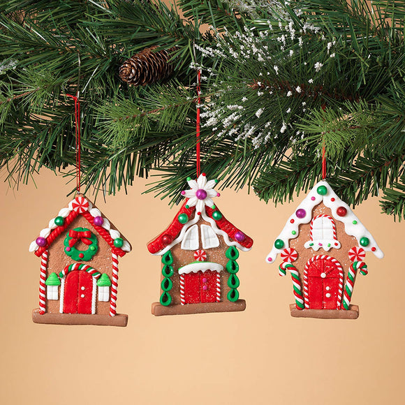 Set of 3 Christmas Ornaments Bread Dough Design Gingerbread House Motif