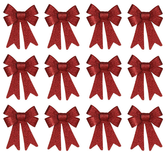 Set of 12 Outdoor Christmas Wreath Bows - 8 Inches High Red Glitter Bows Seasonal Decor - Indoor/Outdoor Use