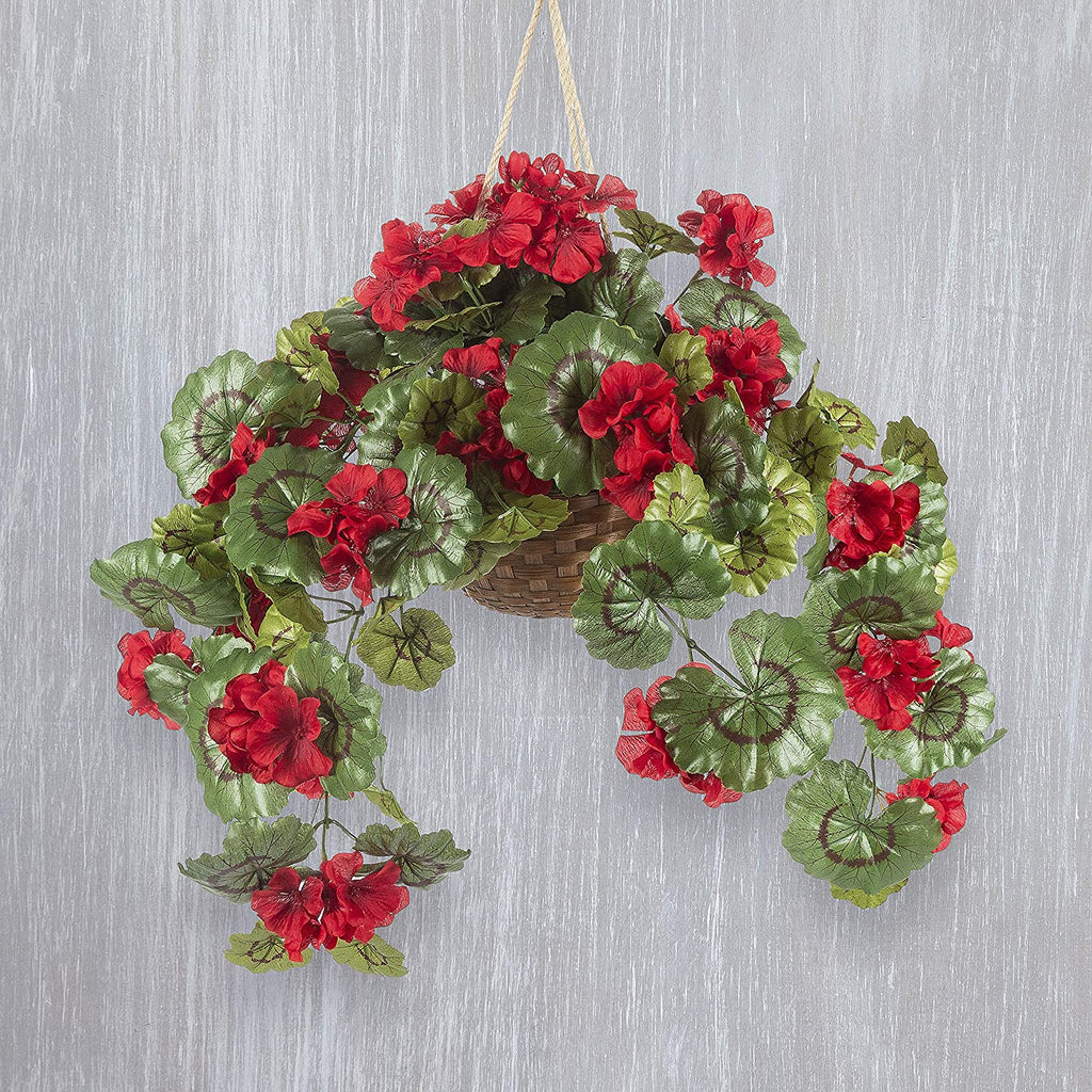 16 Inch High Artificial Red Geranium Hanging Plant in Basket
